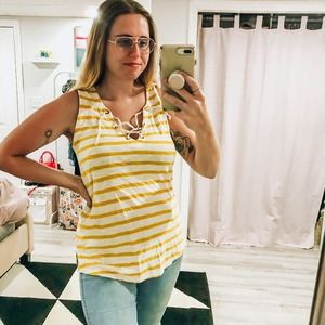 Old Navy Yellow Striped Sleeveless Tank Top Large